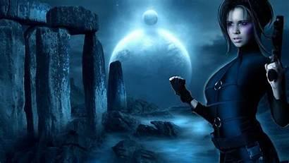 Digital Fantasy Female Warrior Lady Background Sci