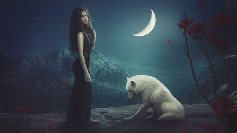 wallpaper white wolf moon beautiful girl hd fantasy
