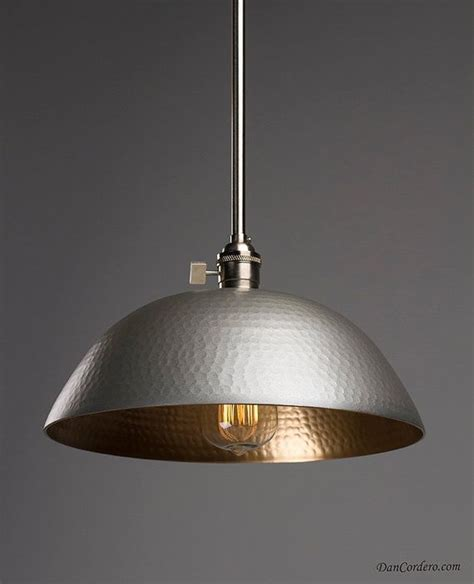 hammered gold brushed nickel edison pendant light by