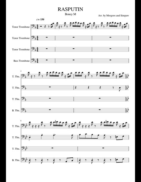 The trombone is actually the very first brass instrument to have been enabled to play real music. RASPUTIN sheet music for Trombone download free in PDF or MIDI