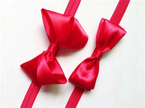 Baby Girl Infant Hair Bow Ribbon Red Bow Headband Hair