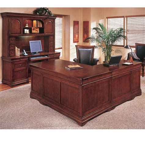 l shaped executive desk with hutch keswick english cherry executive l shape desk left handed