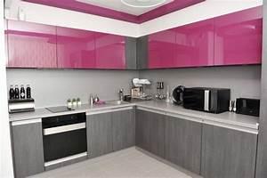 une cuisine rose et grise de style contemporain a With cuisine grise et rose