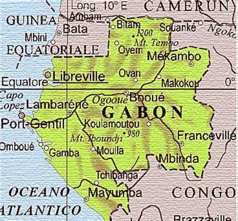 la mappa geografica del Gabon