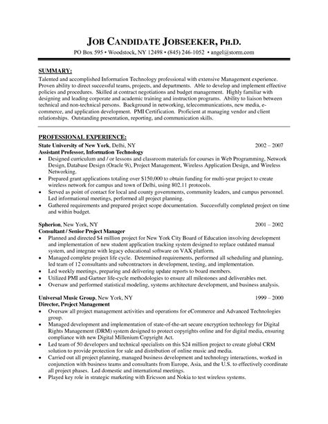 Senior Project Manager Resume Summary by Senior Project Manager Resume Sle Printable Planner