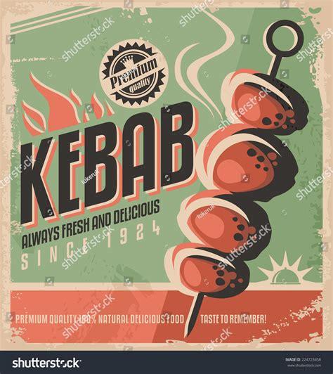 kebab retro poster design concept promotional stock vector