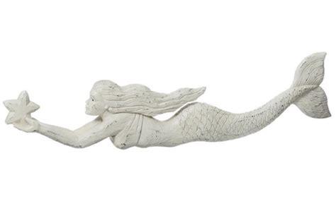 wall decor mermaid swimming with starfish distressed 24 inch resin Mermaid