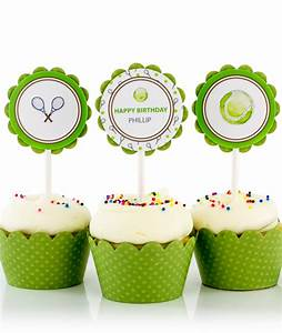 Tennis Birthday Party Cupcake Toppers