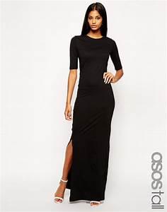 robe hiver longue noire manche courte et fendue cote la With robe manche longue hiver