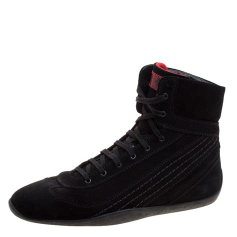 Tods x ferrari driving shoes. Tod's For Ferrari Black Suede Hi-Top Sneakers Size 39.5 Tod's | TLC