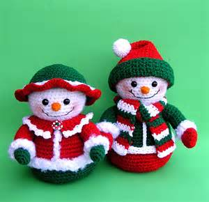 pdf crochet pattern mr and mrs winters snowmen only