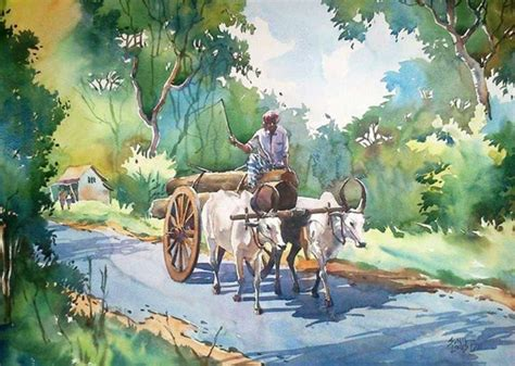 15 Beautiful Kerala Themed Watercolor Paintings by Sunil