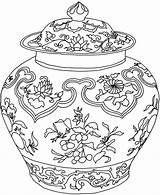 Coloring Vase Pages Adults Adult Vases Flower Ming Drawing Pot Printable Chinese Pots Colouring Doverpublications Complicated Dover Publications Zentangle Simple sketch template