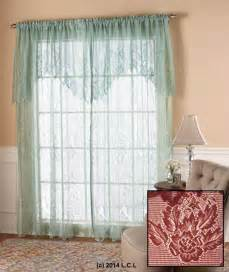 Burgundy Lace Curtains With Attached Valance by Lace Curtain W Attached Valance In Stock Window Panel
