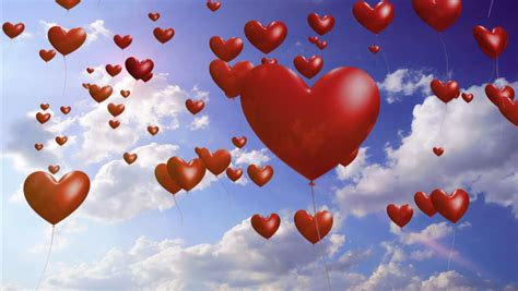 animation  heart shaped balloons flying   sky