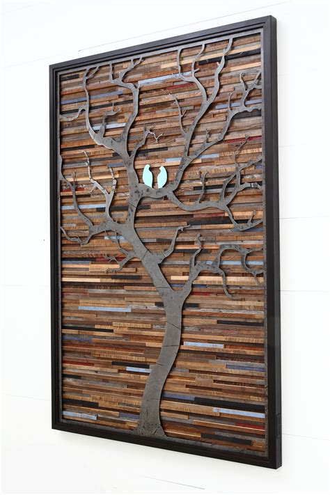Compare prices on lighted wall pictures in wall decor. Custom Made Wood Wall Art Made Of Old Barnwood And Natural Distressed Steel | Metal tree wall ...