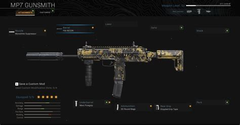 mp7 loadout warzone attachments setup duty call perks
