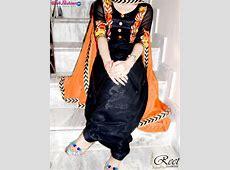 Splendid Black and Orange Embroidered Punjabi Suit Buy