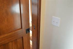 Craftsman style pocket door craftsman bathroom for Craftsman bathroom pocket doors