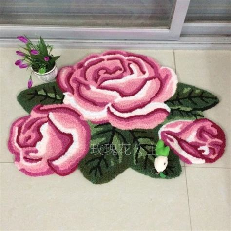 cmcm  rose rug pink handmade bath mat floral rug