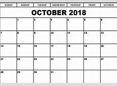 Free Printable Calendar October 2018 – Printable 2018