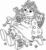 Raggedy Ann Coloring Andy Pages Sewing Kit Sheets Netart Colouring Printable Drawings Adult Embroidery Children Books Redwork Pattern Getcolorings sketch template