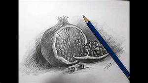 Fruit Sketch    U0026quot How To Draw Pomegranate U0026quot  Graphite And