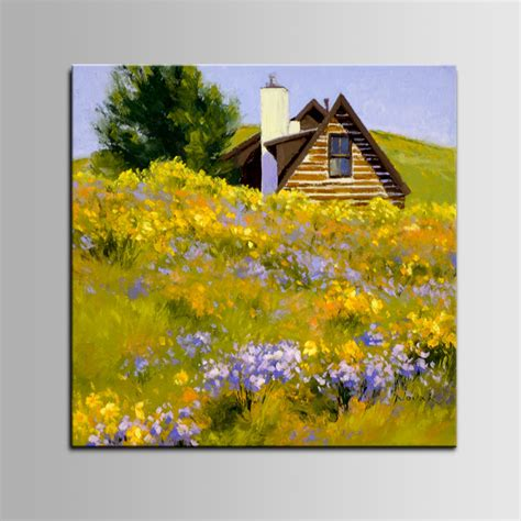 Iarts 100% Hand Painted Modern Flowers Painting Village