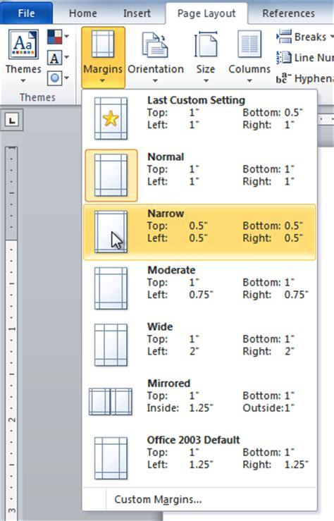 word 2010 modifying page layout page