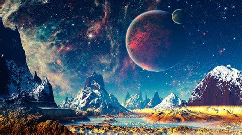 fantasy world mountains river planets stars  wallpaper