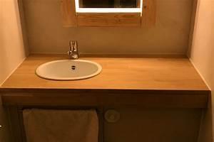 plan de travail sur mesure en bois pour salle de bain With plan de travail hydrofuge salle de bain