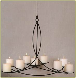 pillar candle chandelier home design ideas With kitchen cabinets lowes with hanging hurricane candle holders