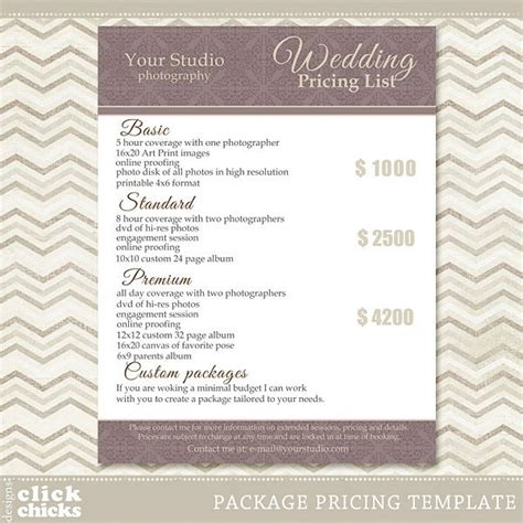 photography pricing photography package pricing list template wedding packages