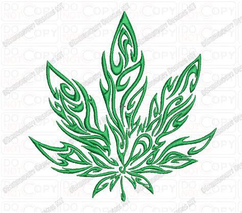flamme tribal de marijuana cannabis feuille design de broderie
