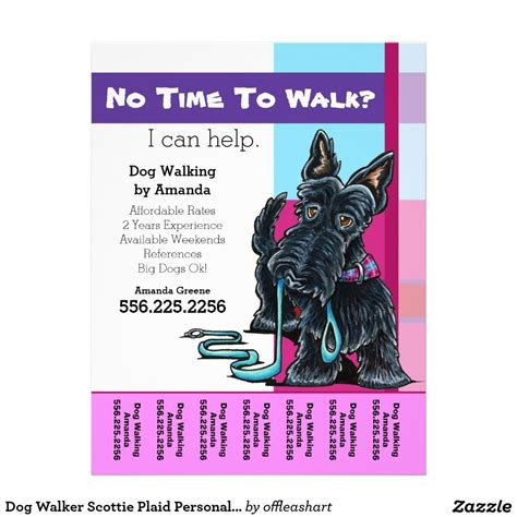 walking flyer template walker scottie plaid personalized tear sheet