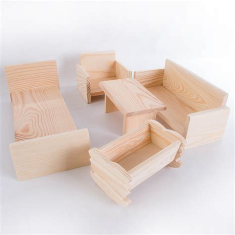 wooden dolls house furniture plain pinewood bed  sofa