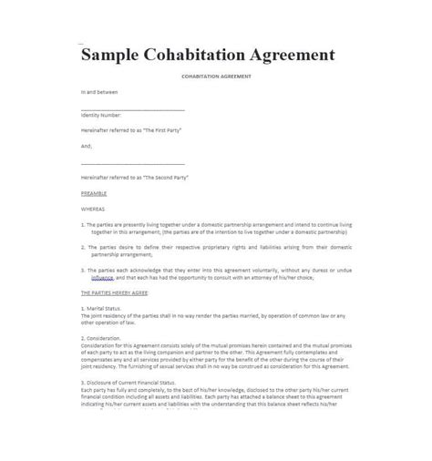 cohabitation agreement   templates forms