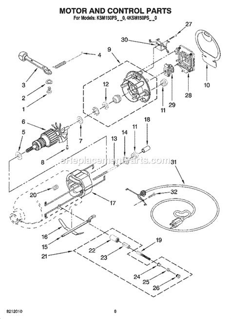 Kitchenaid Ksmpsac Parts List Diagram