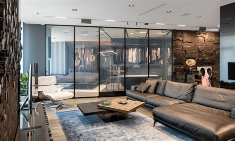 modern  masculine apartment   smart glass wall   hide  bedroom  view