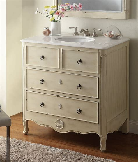 bathroom vanity coastal vintage style distressed cream wxdxh chfwp
