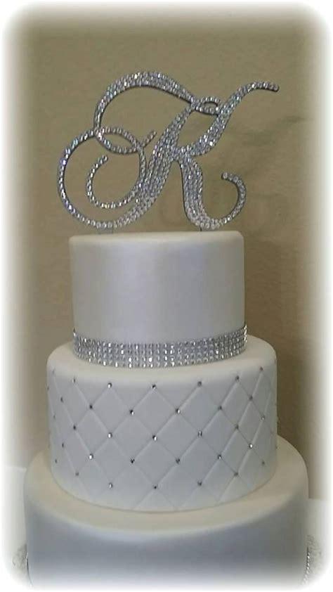 monogram wedding cake topper crystal initial  letter