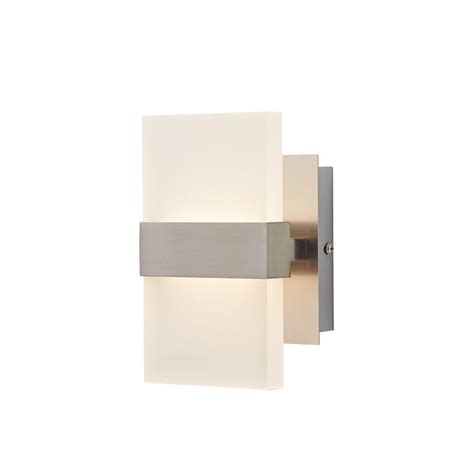 led wall light sconce easylite 10 watt 2 light brushed nickel integrated led wall sconce 28616 hb the home depot