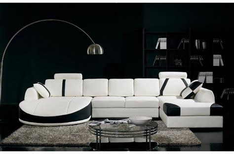 canape noir et blanc canap 233 d angle en cuir italien 7 8 places naples blanc et