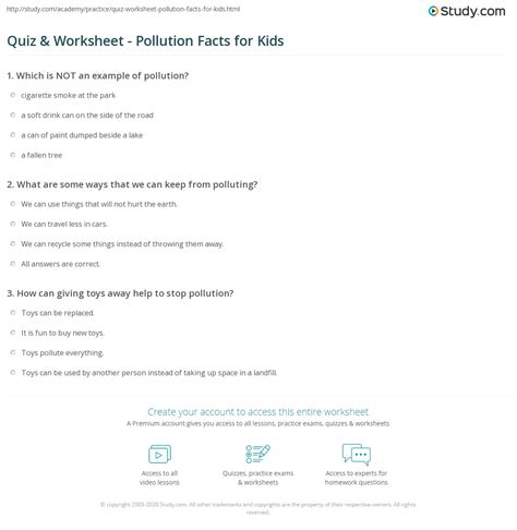 quiz worksheet pollution facts  kids studycom