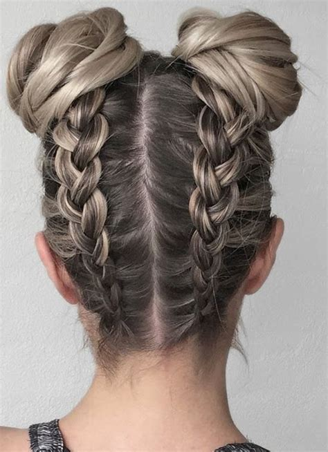 double upside down braid and buns 2017 2018 upside down
