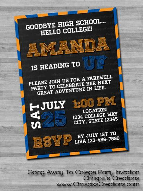 Going Away to College Party Invitation Going away party