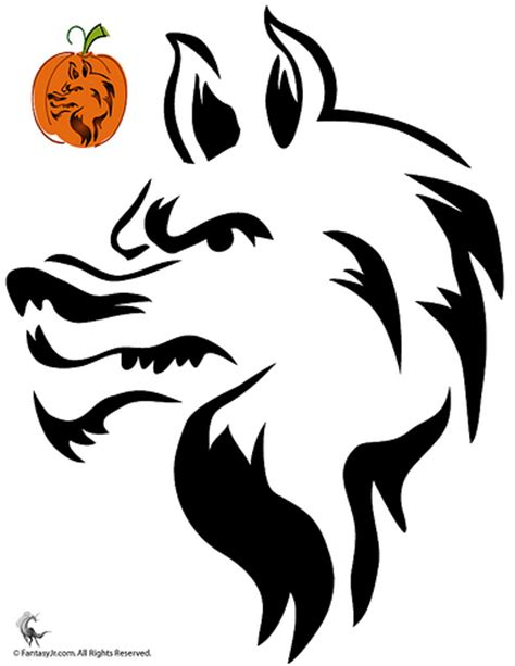 cut out templates wolf wolf pumpkin carving stencils