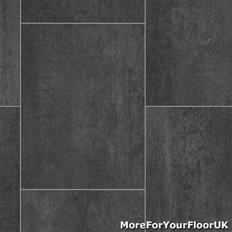 Black / Grey Tile Quality Vinyl Flooring 3m / 4m