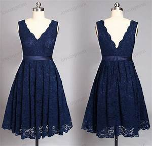 Navy Blue Lace Bridesmaid Dresses,short Wedding Party ...