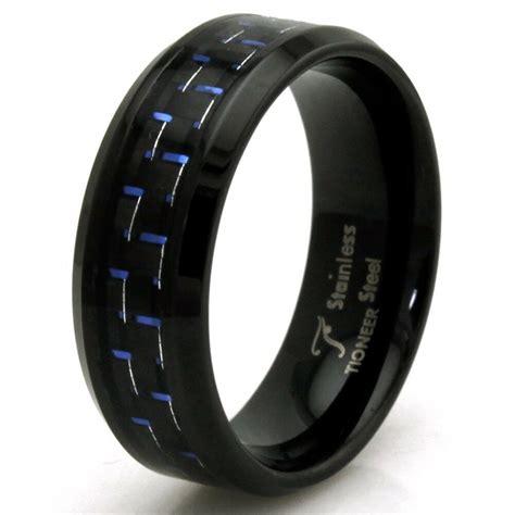 stainless steel blue carbon fiber engravable wedding ring